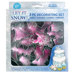 frozen-inspired decorating set with 8 winter cookie cutter shapes