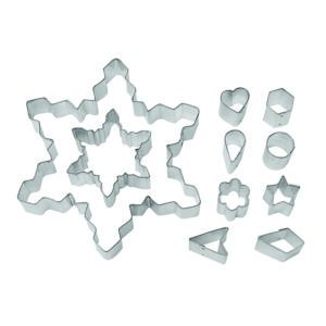 snowflake cookie cutter set with 8 shapes